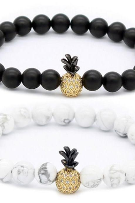 Fashion Pineapple Microinlaid With Zircon Lovers Bracelet