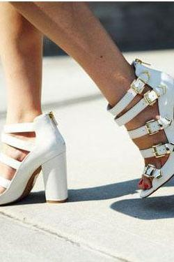 Belt Buckle Chunky Heel Peep-toe Zipper High Heel White Sandals