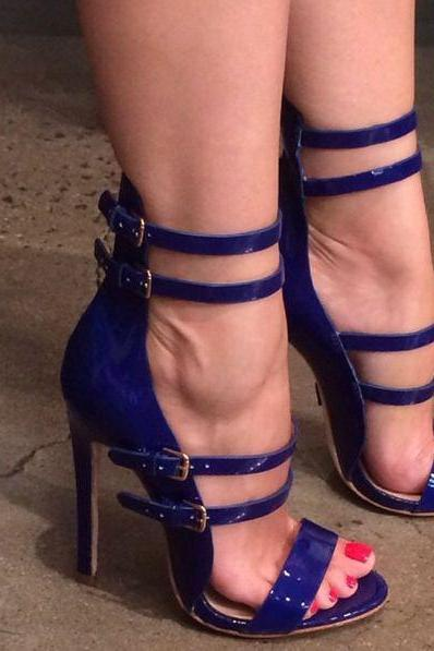 Simple Open Toe Ankle Straps Stiletto High Heel Blue Party Sandals