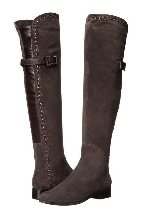 Belt Buckle Low Chunky Heel Round Toe Over the Knee Long Boots