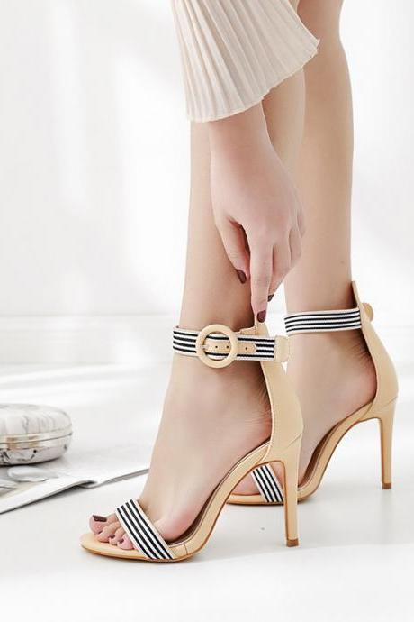 Stripes Ankle Wrap Hasp Open Toe Stiletto High Heel Dress Sandals
