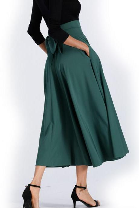 Back Straps Bowknot High Waist Long Swing Skirt with Pockets
