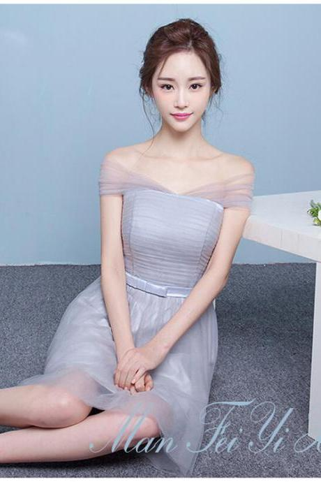 Off Shoulder Tulle Pleated High Waist Short Party Bridesmaid Dress