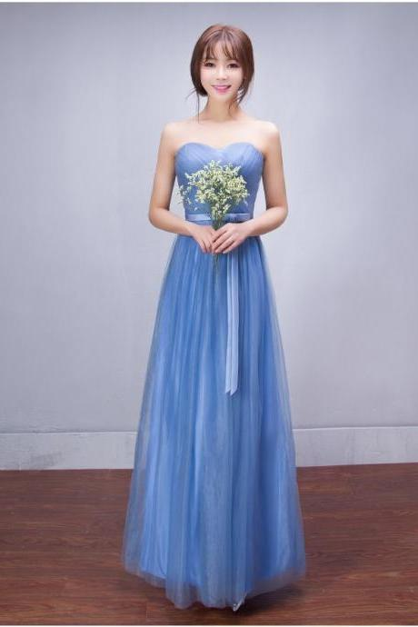 Strapless Pleated Empire High Waist Long Tulle Bridesmaid Party Dress