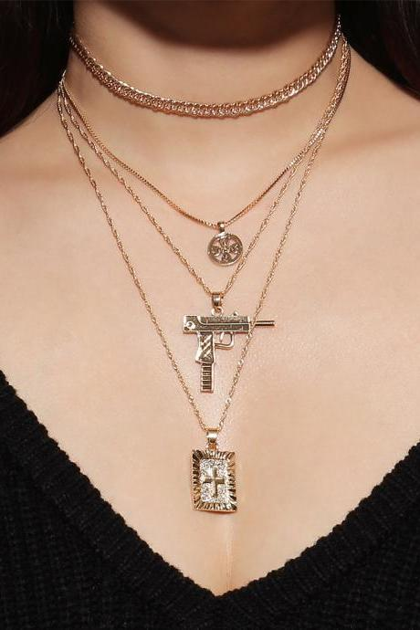 Multielement Cross Anti-war Clavicle Necklace