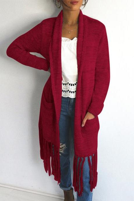 Tassels Long Sleeves Loose Women Oversized Long Cocoon Cardigan