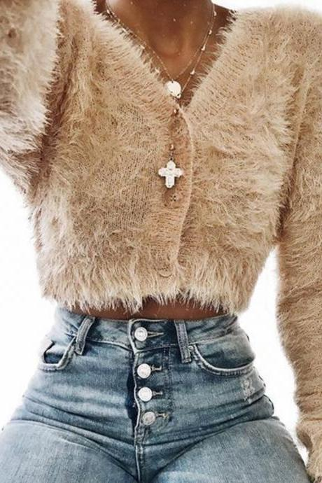 V-neck Buttons Loose Mohair Women Cropped Cardigan