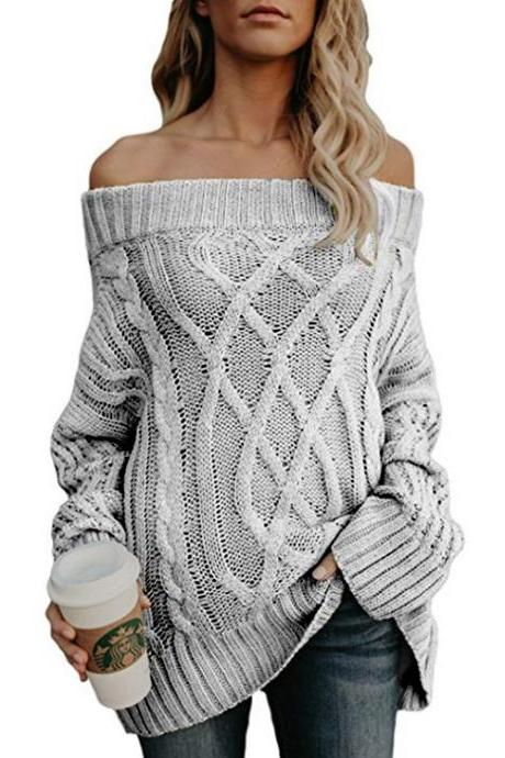 Off Shoulder Cable Knit Long Thick Women Sweater