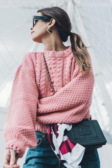 Cable Knit Scoop Long Bishop Sleeves Women Pink Chunky Sweater