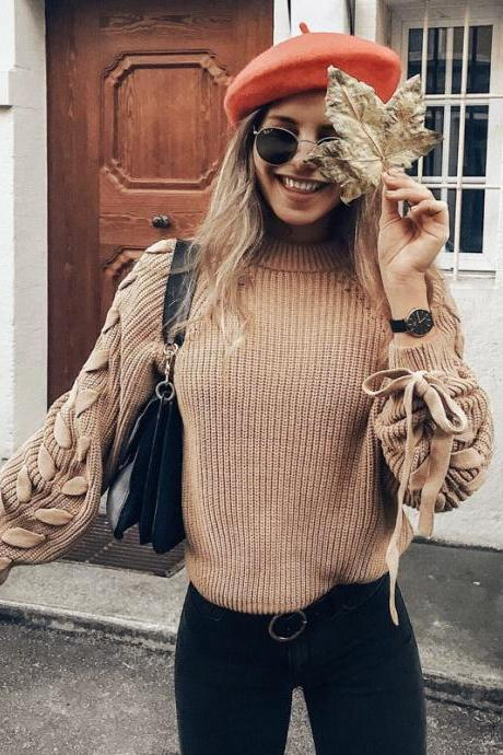 Crew Neck Straps Lace Up Loose Women Pullover Sweater