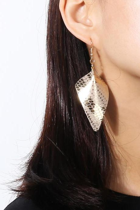 Geometric Suede Triangular PU Earrings