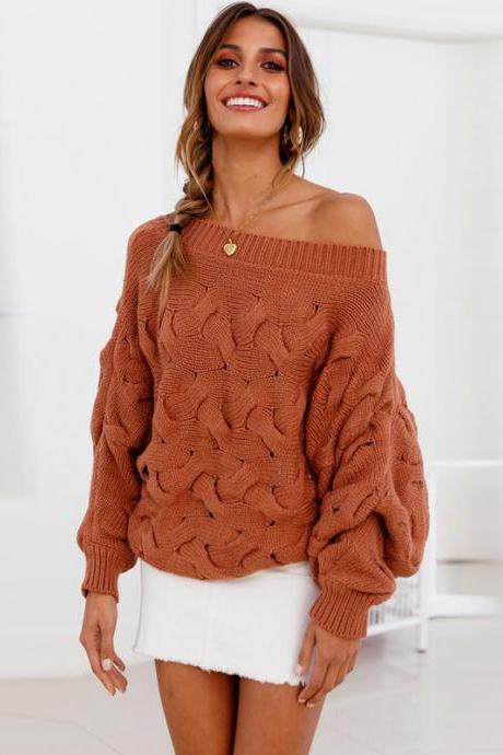 Boat Neck Loose Irregular Sleeves Women Knit Pullover Sweater