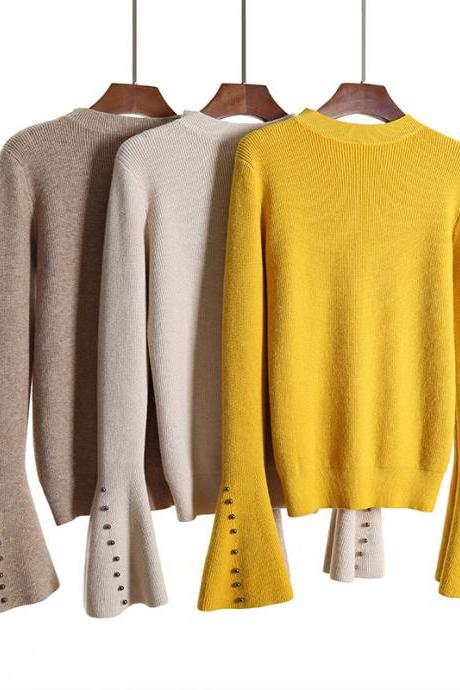 Crew Neck Slim Long Trumpet Beads Sleeves Women Pullover Sweater