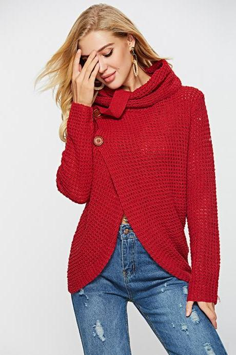 Turtleneck Irregular Buttons Wrapped Women Cardigan