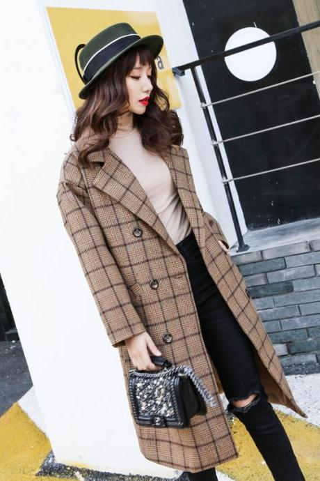 Lapel Collar Plaid Wool Blend Women Oversized Peacoat
