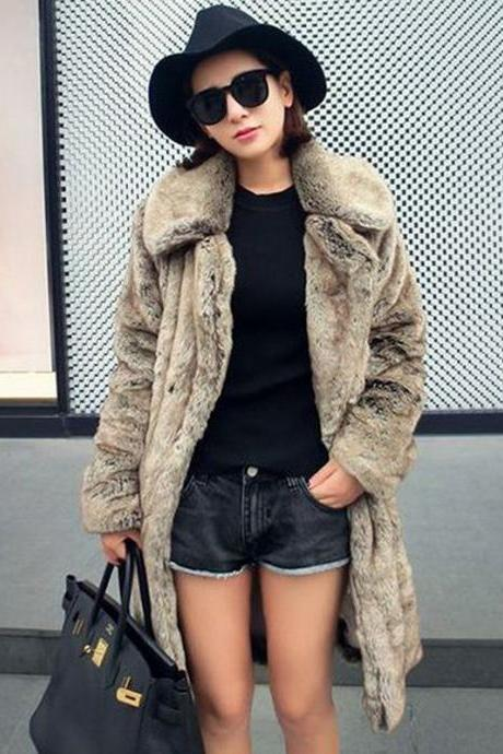 Lapel Collar Faux Fur Solid Color Oversized Teddy Coats