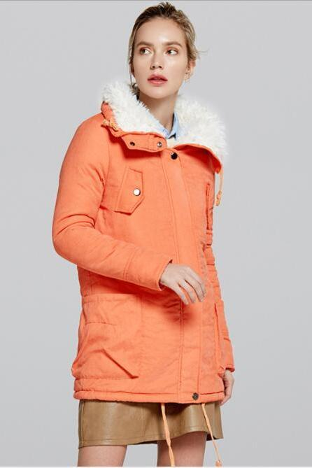 Lapel Pockets Drawstring Women Oversized Parka Jacket Coat