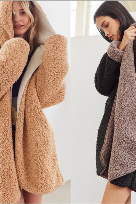 SolId Color Two Side Wearable Women Hooded Oversized Teddy Coat