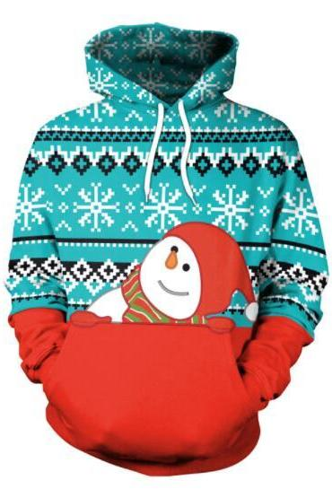 Snowman 3D Cartoon Colorful Print Women Christmas Party Hoodie