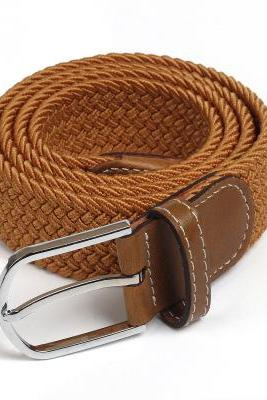 Elastic Belt Knitted Canvas Belt Decoration Belt Female Pin Buckle Canvas Strap Women And Man