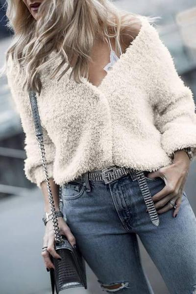 V-Neck Fuzzy Cropped Casual Women Sweater