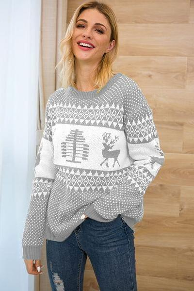 Stripe Print Loose Long Sleeve Women Christmas Sweater