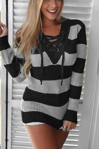 V-Neck Lace-Up Striped Long Sleeve Women Sweater