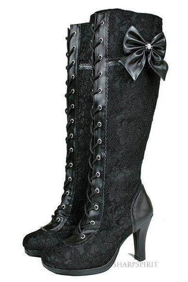 Bow Lace Up Stiletto Heel Knee High Boots