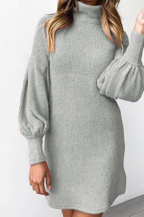 Turtleneck Bishop Sleeve Corduroy Pullover Dress