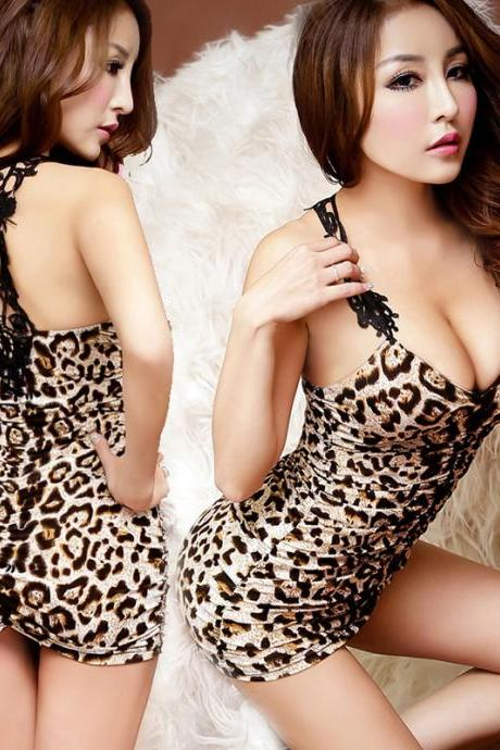 Sexy Leopard Print underwear mini Dress
