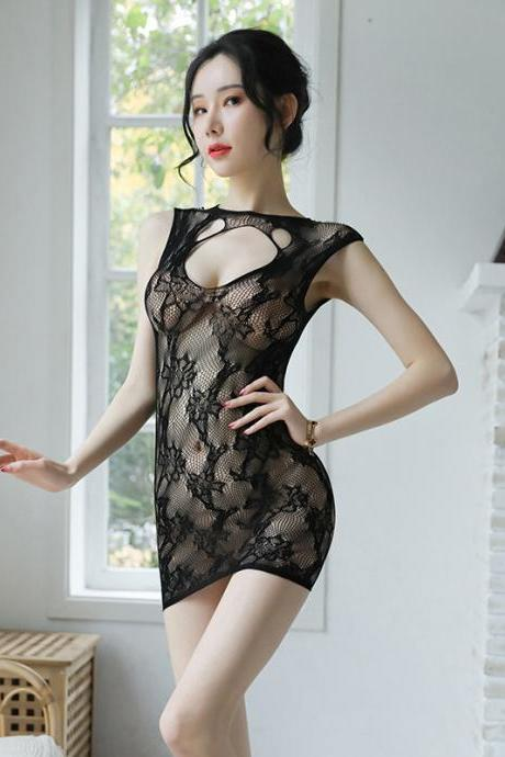 Sexy Hollowing out underwear Club Mini Blackless Dress(Q2020216)