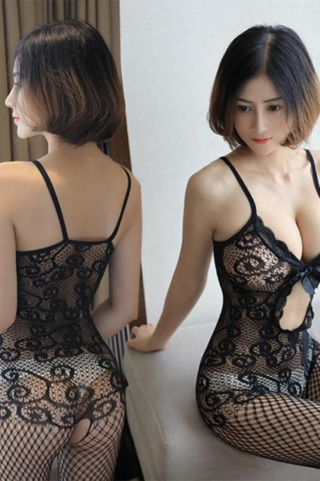 Sexy Backless Lace Hollow Club wear Blackless Jumpsuits(Q2020220)