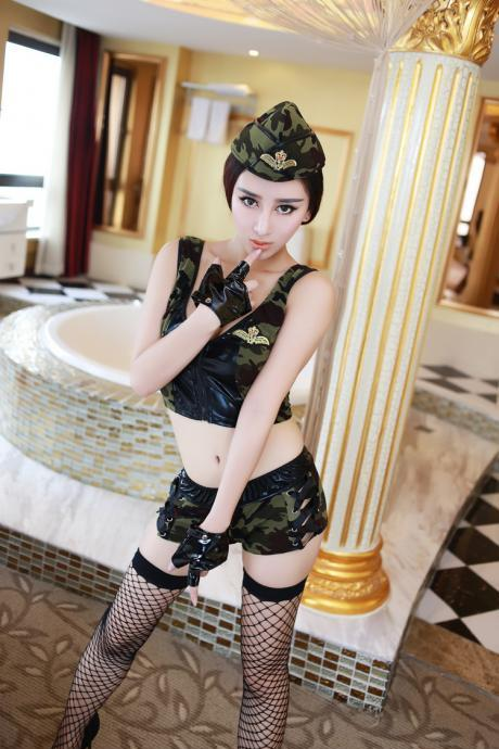 Sexy Camouflage Stewardess /policewoman uniform suit underwear sets For Girl