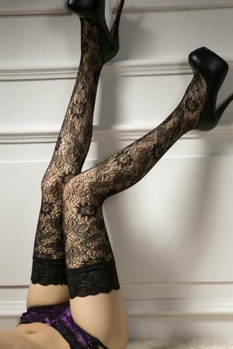 Sexy Lace Jacquard weave Hollow Club wear stockings(Q2020237)