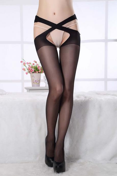 Sexy Cross tempting unstoppable pantyhose Club wear stockings(Q2020239)