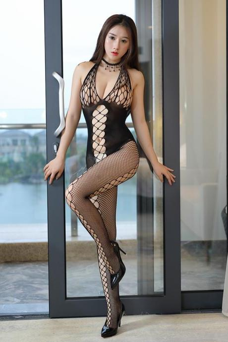 Sexy Lace Hollow Club wear Blackless Jumpsuits(Q2020243)