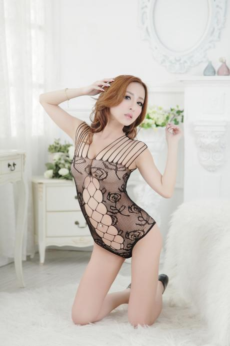 Sexy High quality / elasticity Hollowing out underwear Club Mini Blackless Dress(Q2020258)