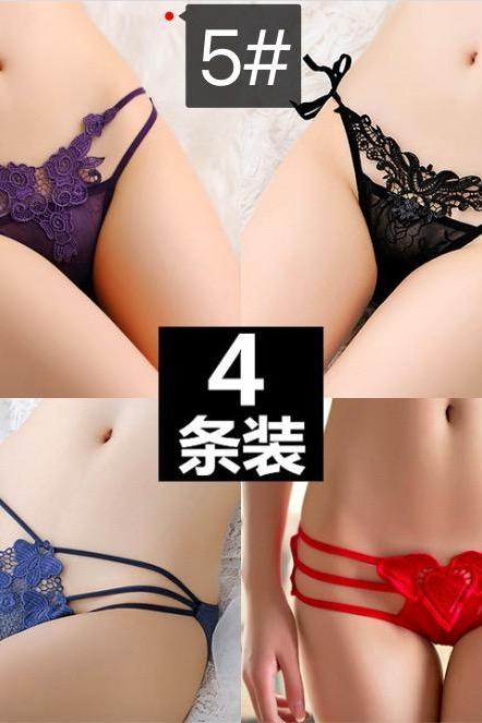 Sexy Four pieces of clothing Lace Low waisted panties women's seductive t-pants(Q2020293)