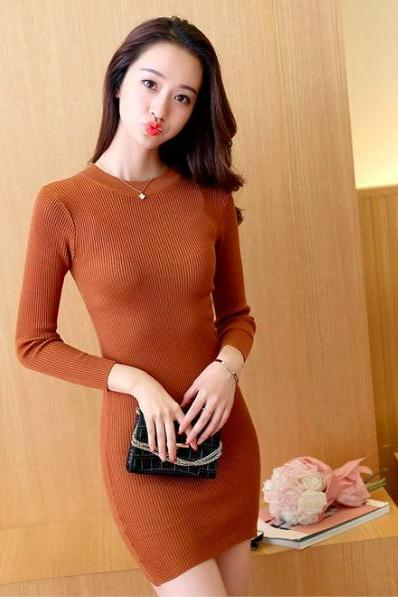 Sexy long bright silk Pullover Sweater Bodycon Dress(Q2020458)