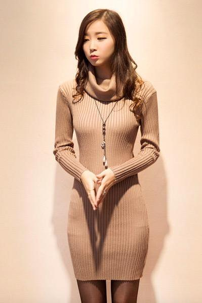 Sexy High Neck long bright silk Pullover Sweater Bodycon Dress(Q2020461)