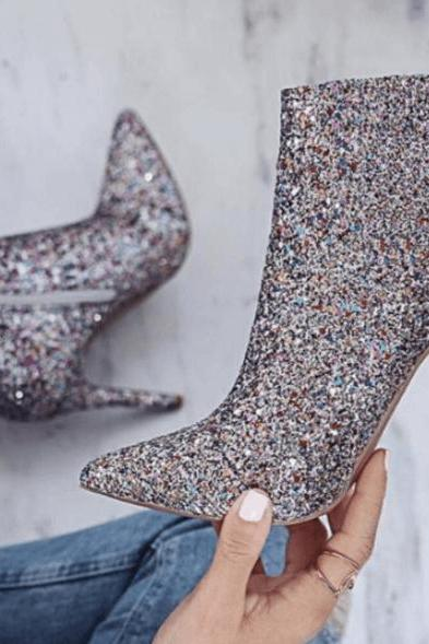 HIGH HEEL GLITTER POINTER TOE SILVER ANKLE BOOTS