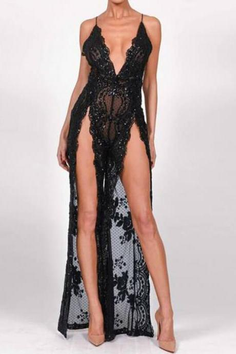 GLITTER MESH FLOWY SPLIT SEE THROUGH JUMPSUITS