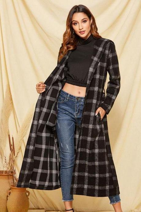 PLAID WITH BELT OVER WRAP COAT