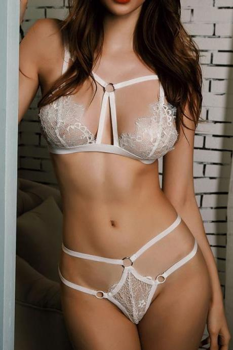Black Sexy Bra Set Plus Size Women Lace Embroidery Transparent Underwear Set Push Up Lingerie Sets Cross Strap Bra And Panty Set