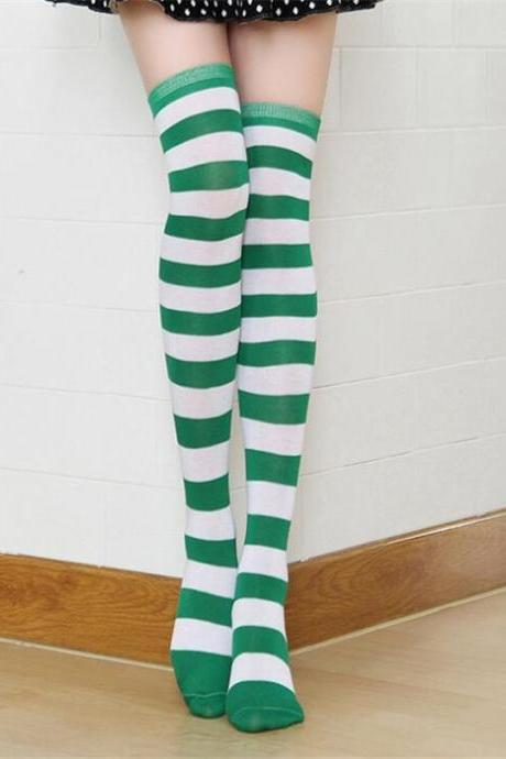 CUHAKCI STOCKINGS Women Girls Cotton Long Striped Thigh High Stocking Anime strip zebra Cosplay Tights Over Knee Socks 1 Pair-Green+White
