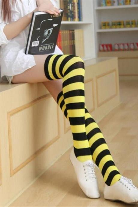 CUHAKCI STOCKINGS Women Girls Cotton Long Striped Thigh High Stocking Anime strip zebra Cosplay Tights Over Knee Socks 1 Pair-Black+Yellow
