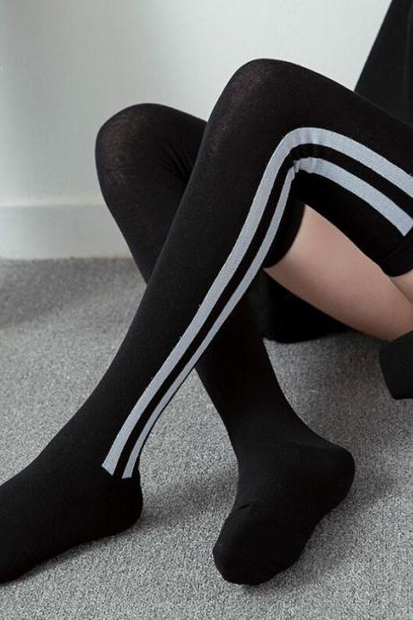 Socks women socks fashion casual cotton thigh high over the knee cotton socks girls female striped long knee sock-5
