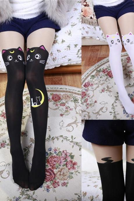New fashion sexy cat printed socks thigh high socks patchwork pantyhose long socks for girls ladies
