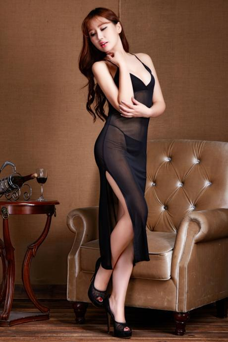 Long evening dress ladies dresses female porn dress sexy lingerie deep v sleep wear nightgown lingerie-Black