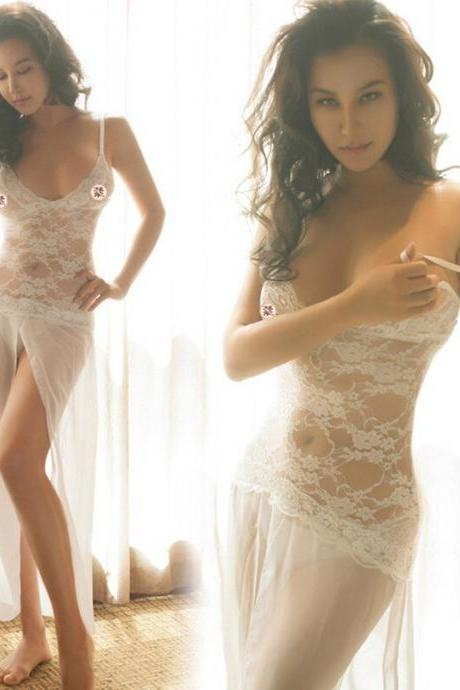 new white female lingerie sexy lingerie dress see through lace hollow night wear sexy lingerie lingerie